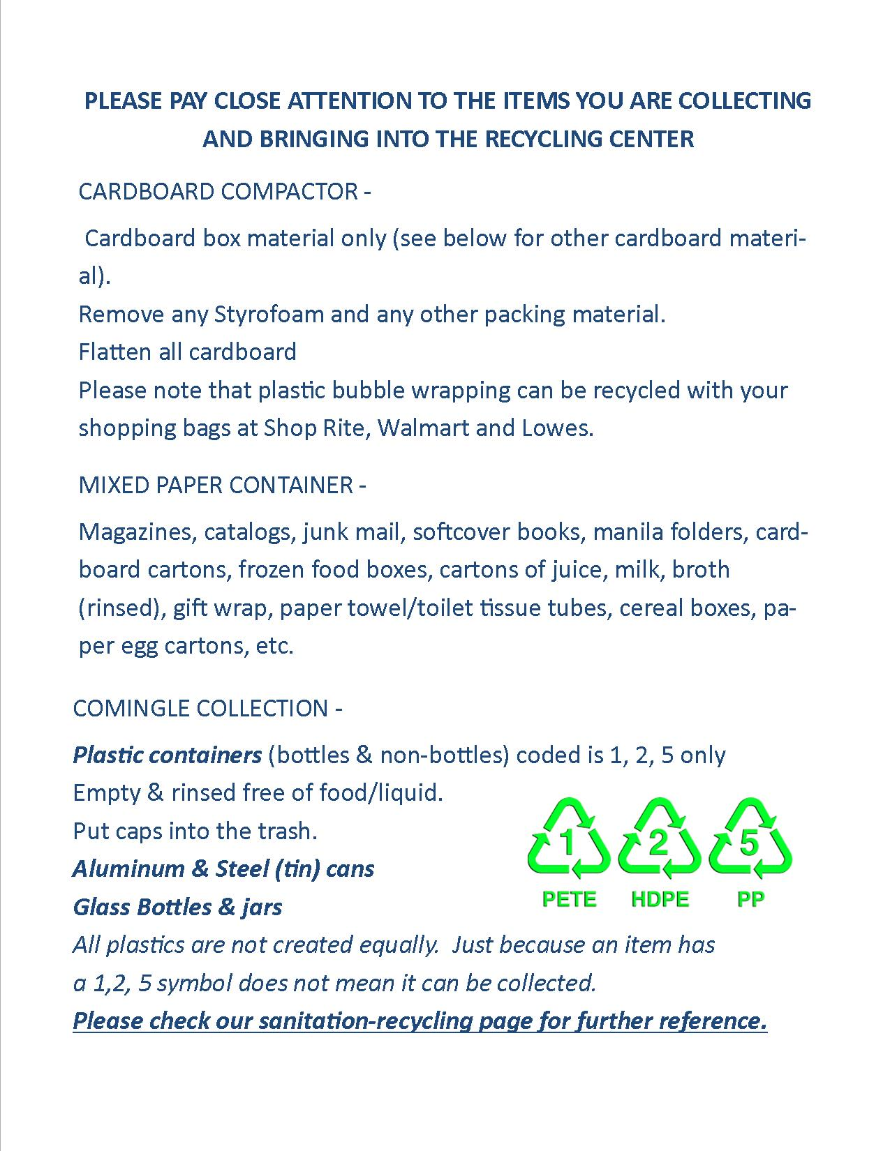 Recycling Center | Township of Roxbury, NJ - Official Website